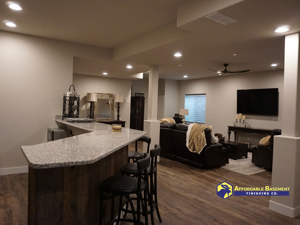 High End Basement Remodeling project that was completed in Denver Colorado.  Granite counters, wood floors, high end fixtures.