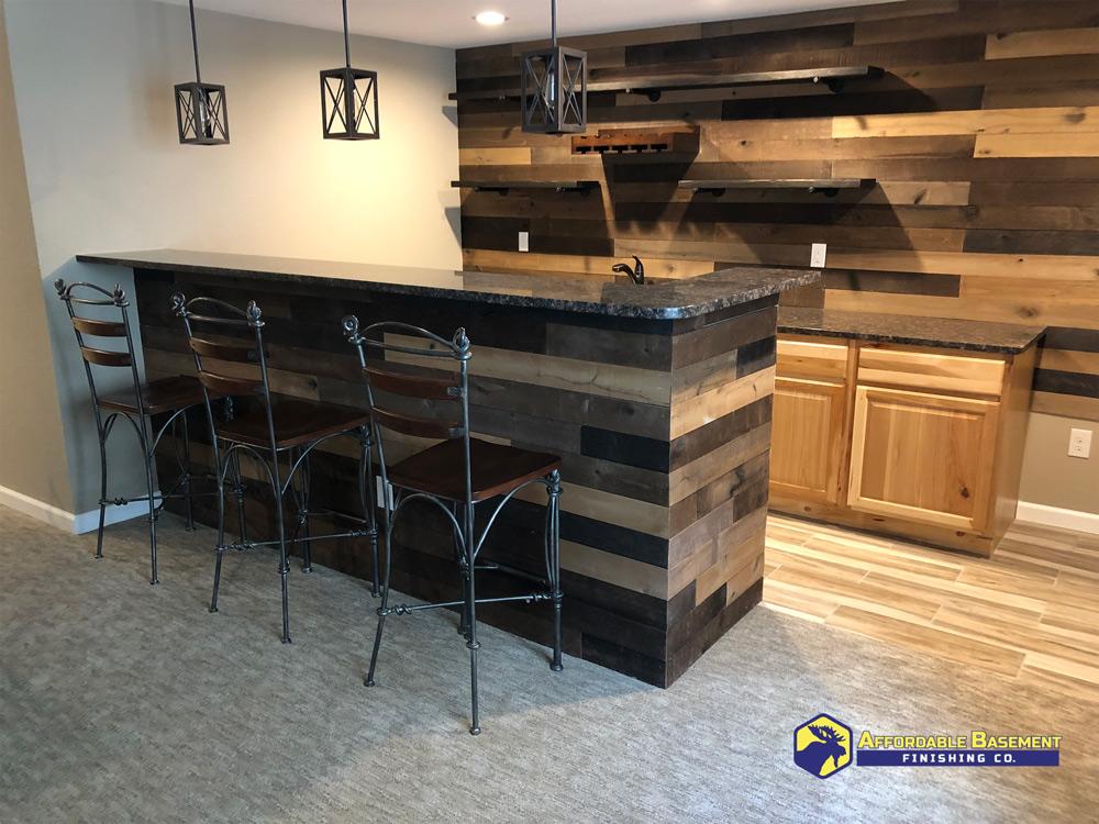 A shiplap bar design in Denver Colorado.