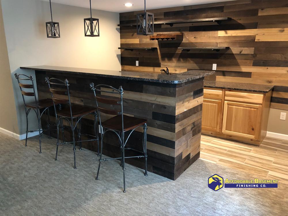 Shiplap wooden bar.