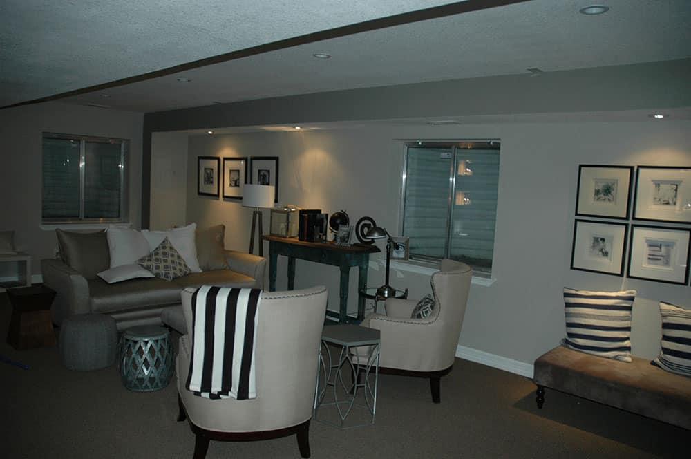 elegant basement sitting area lighted