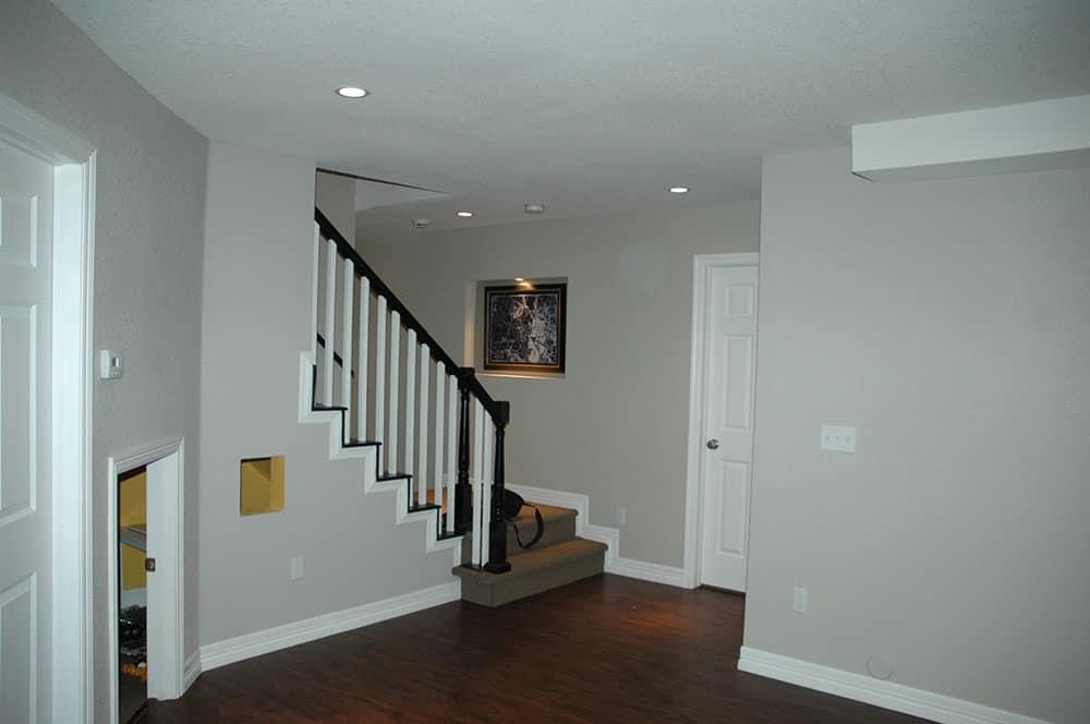 elegant basement stairs in progress