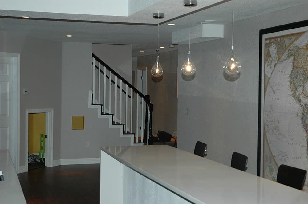 elegant basement in progress wet bar