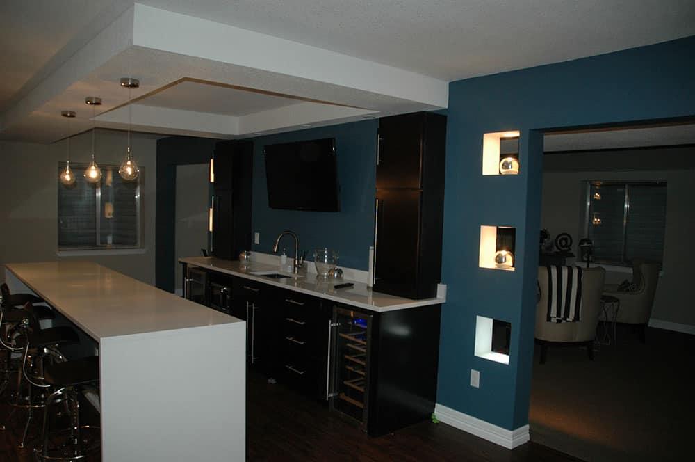 elegant basement full bar area