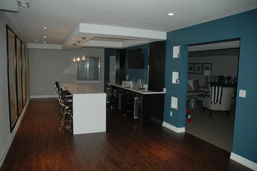 elegant basement finished kitchen area