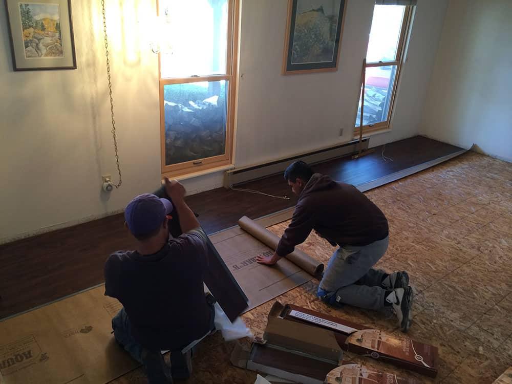 elegant basement floor in progress