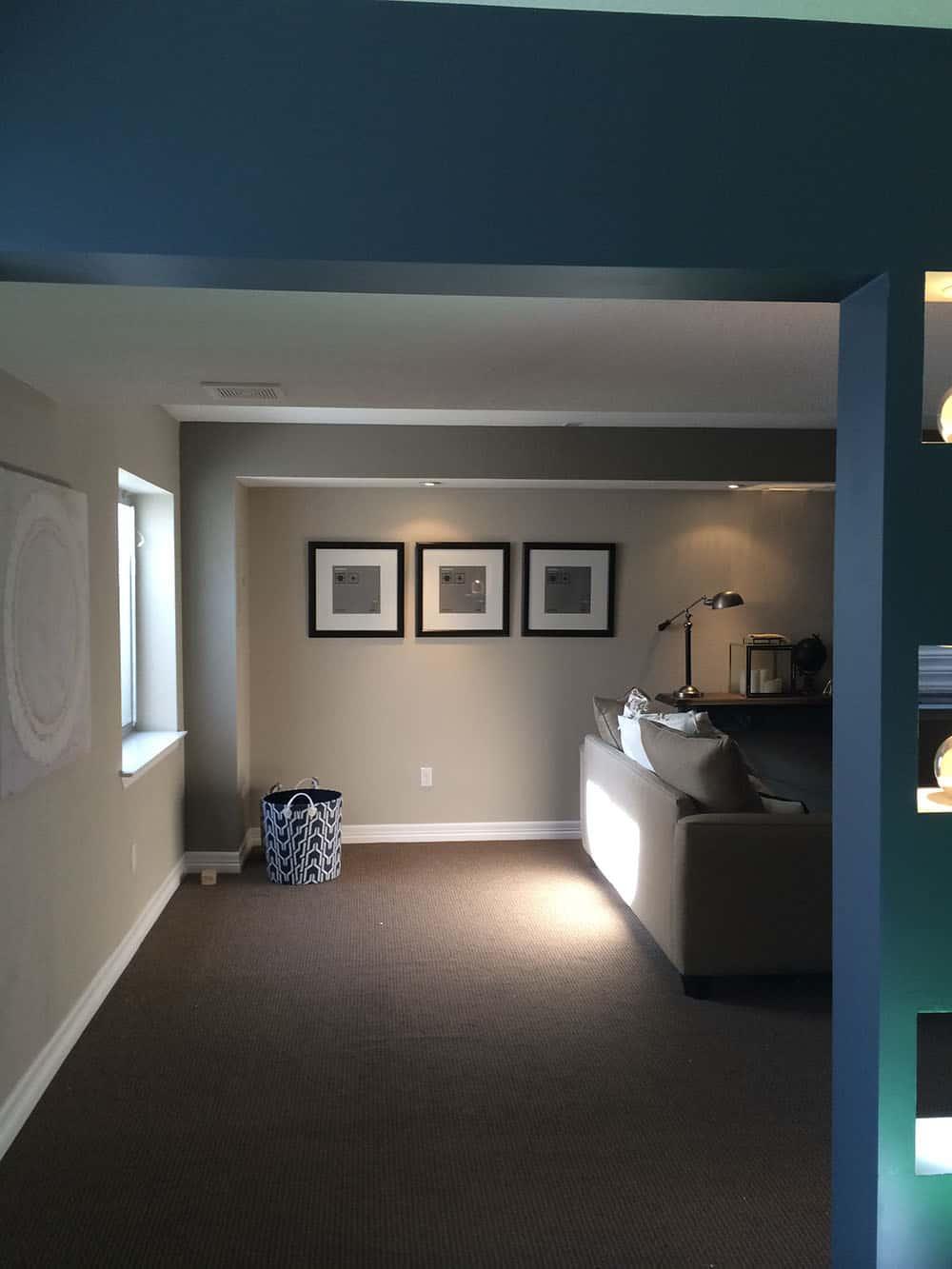 elegant basement sitting area