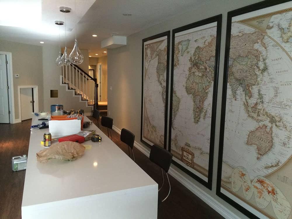 elegant basement world map wall hanging