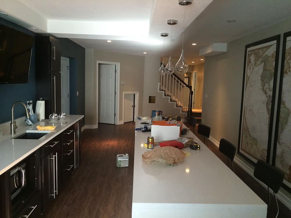 elegant basement counter and kitchen