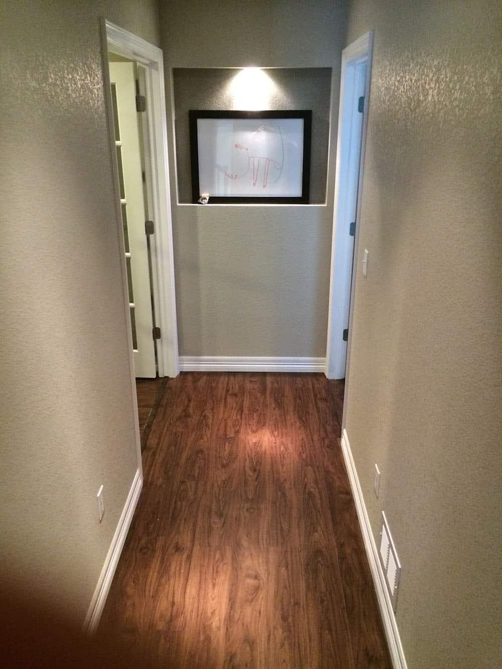 finished basement hallway