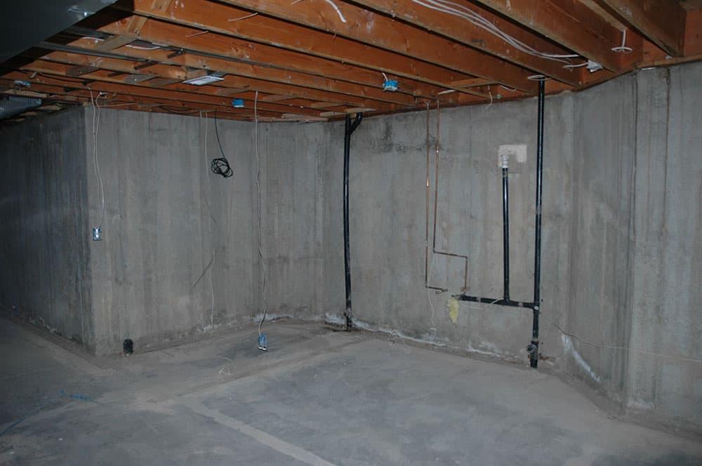 unfinished basement concrete