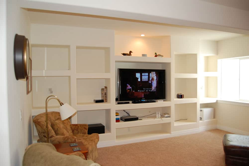 simple white basement with natural light