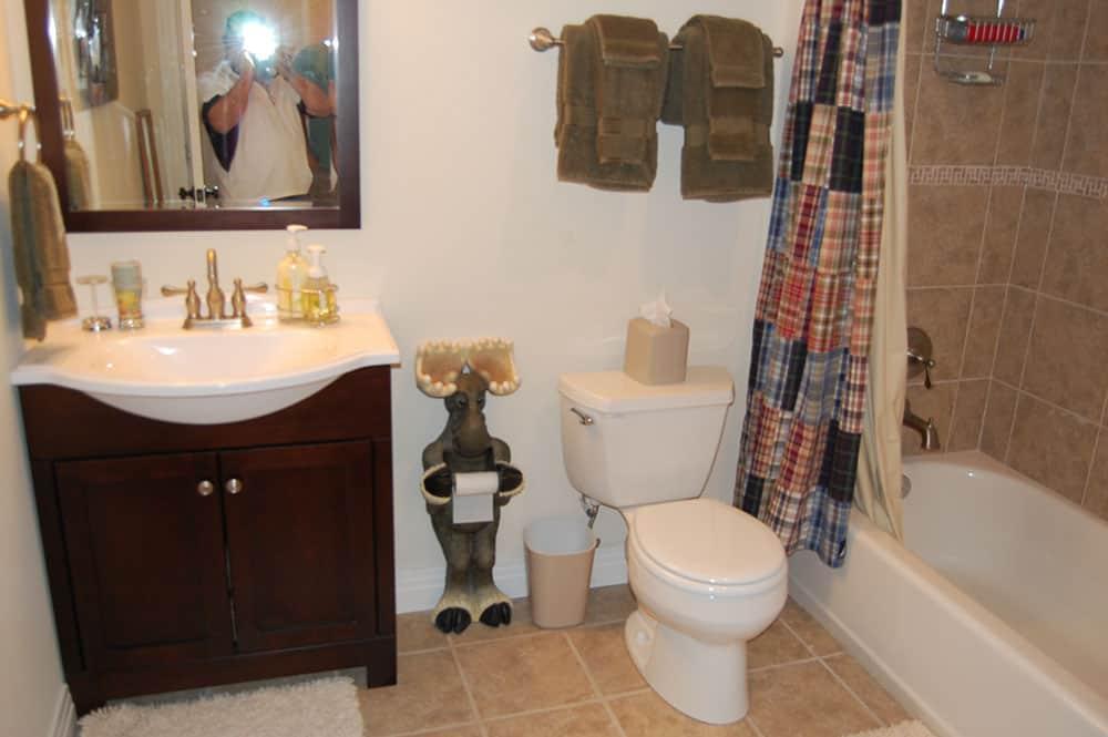 simple white basement full bathroom finished