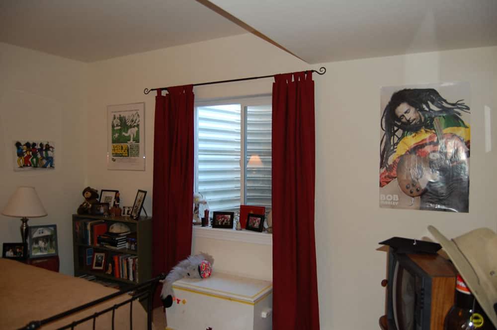 simple white basement children's bedroom