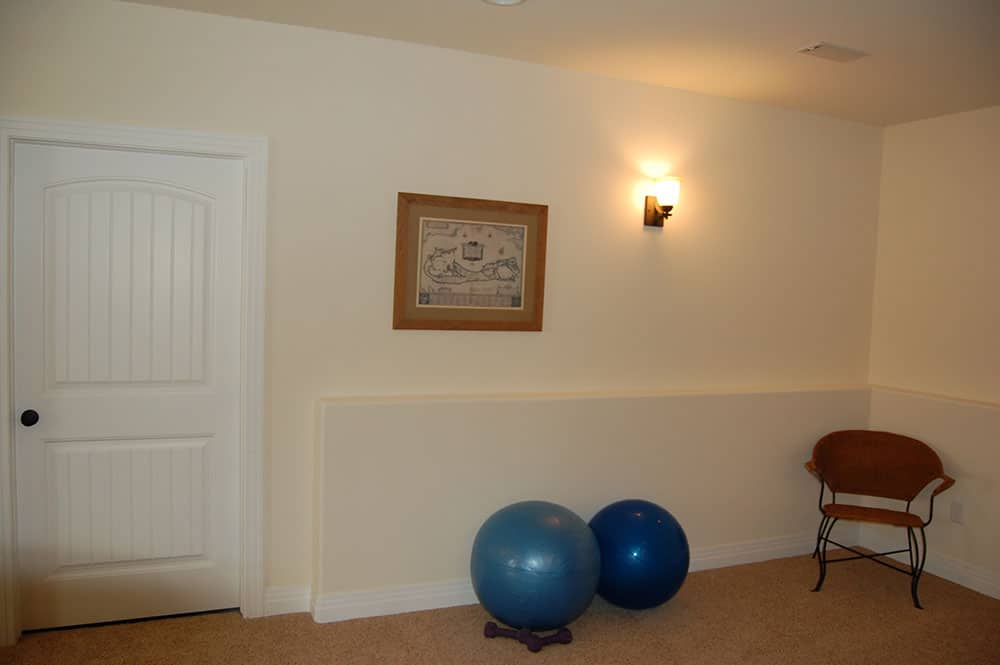 simple white basement exercise balls