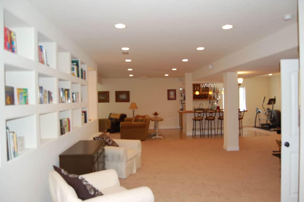 simple white basement bookshelves