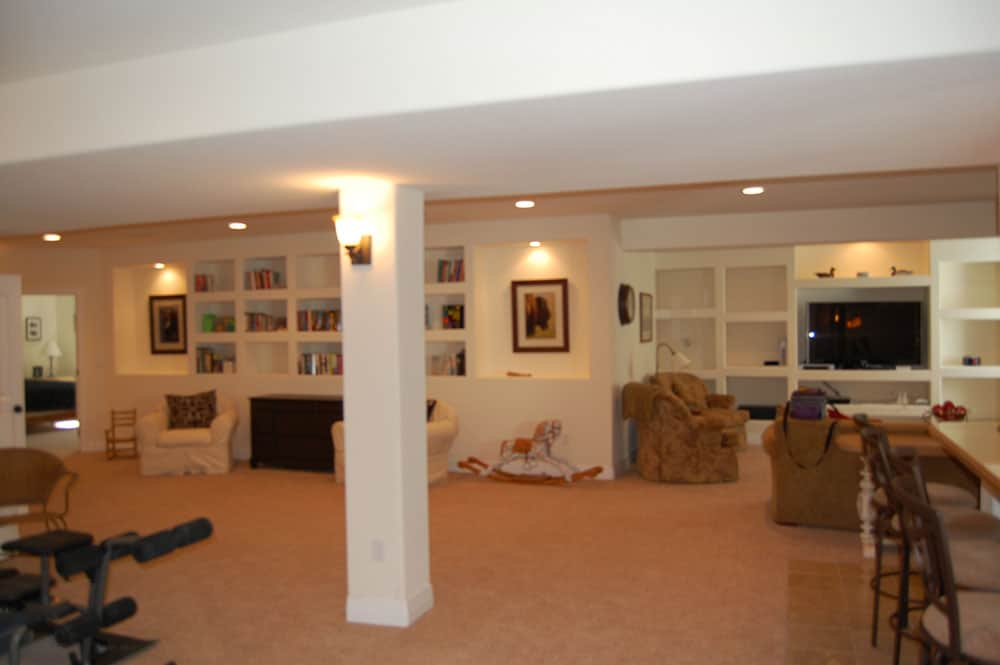 simple white basement wide shot