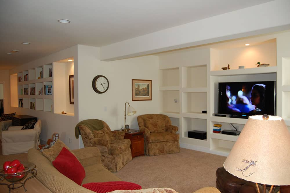 simple white basement furnished