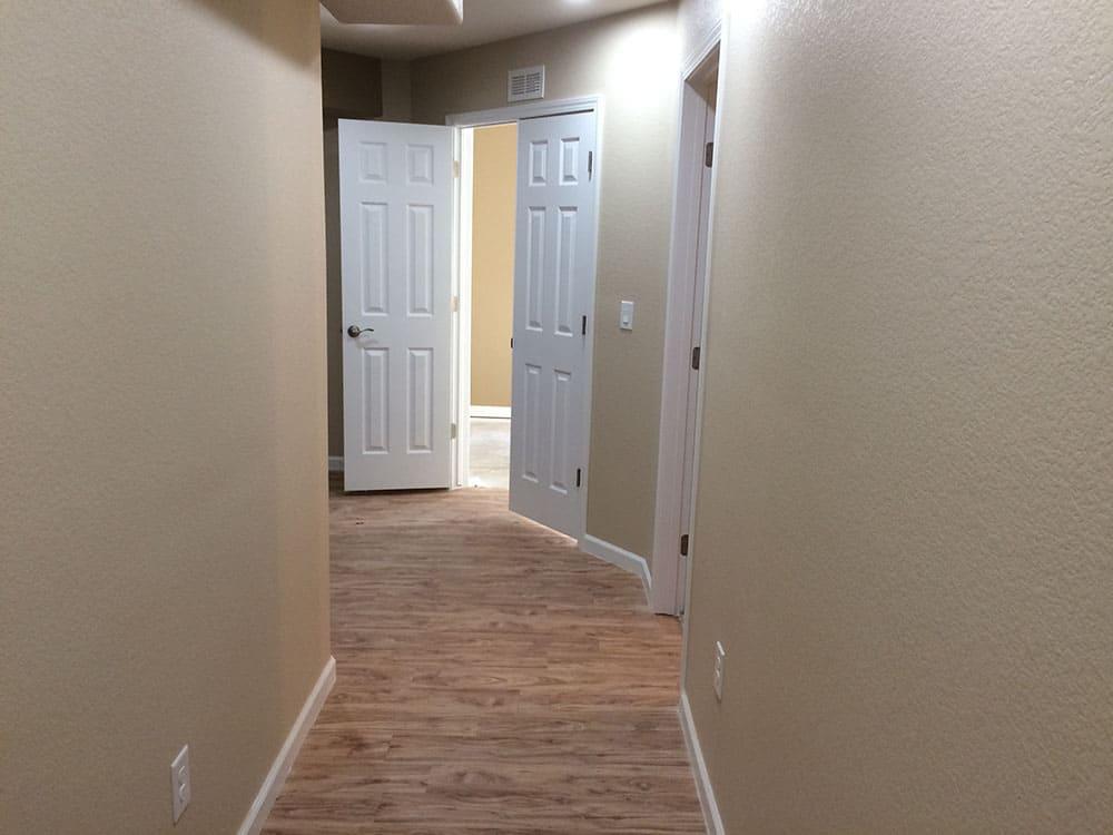 simple wood floors in hallway