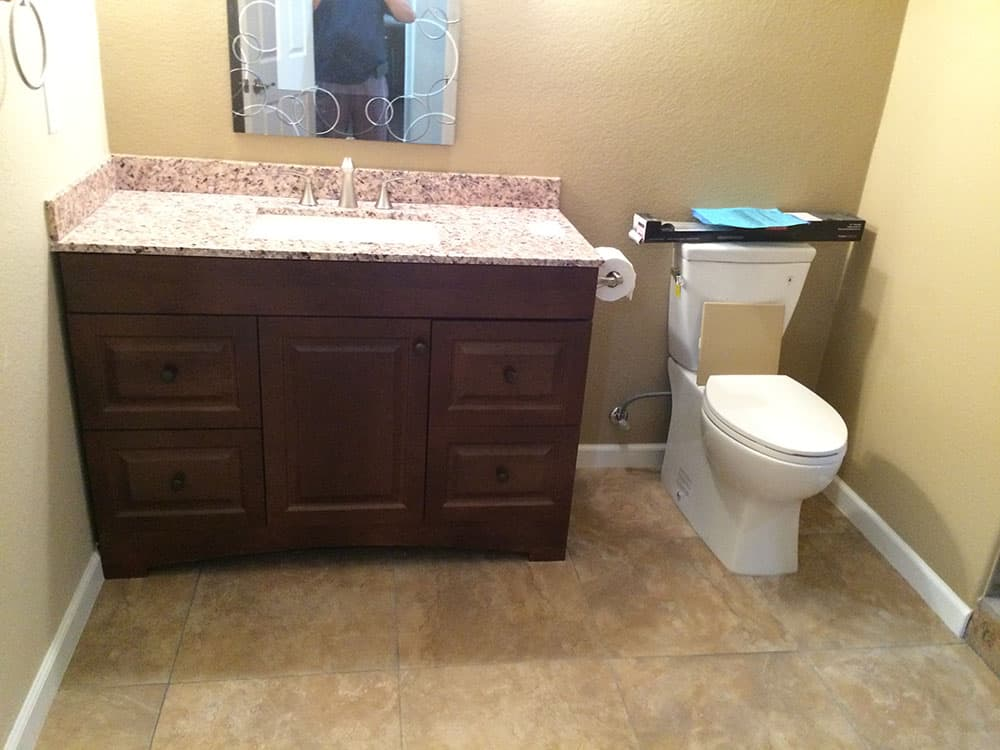 finish basement bathroom in progress
