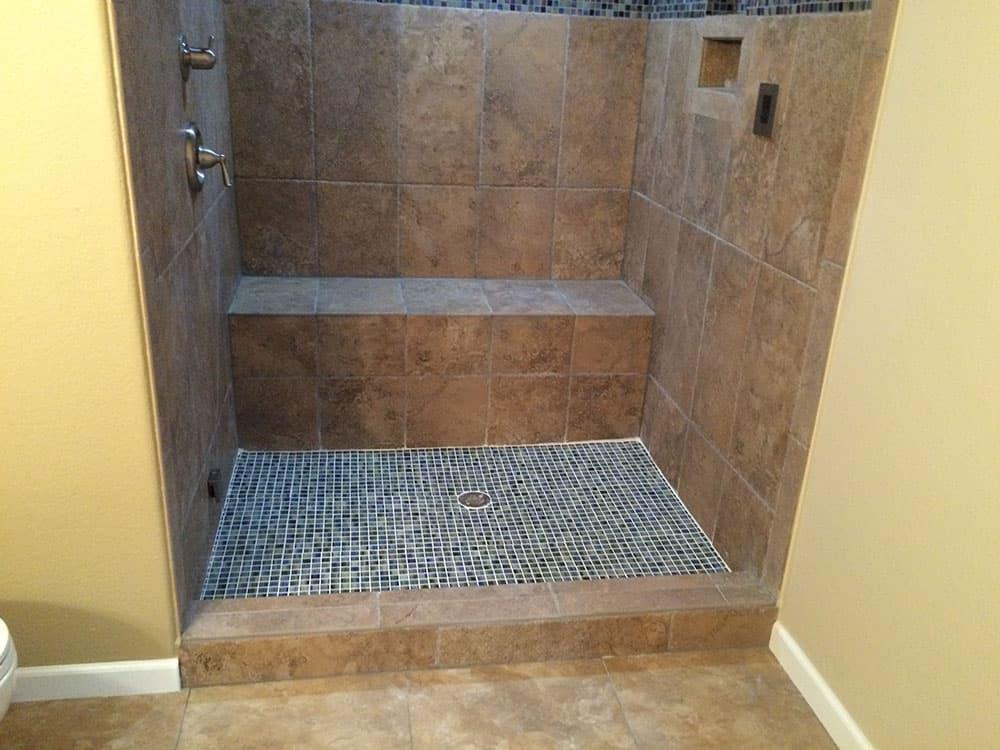 Mosaic Tiled Shower floor