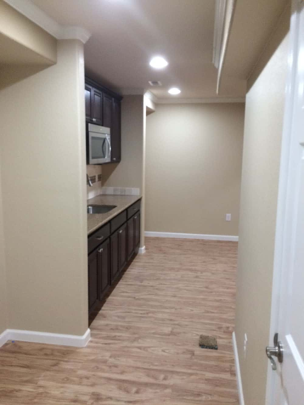 simple wood floors in pre finished basement
